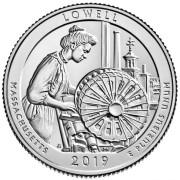 25 центов 2019 год. 46-й парк.Национальный исторический парк Лоуэлл.