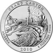 """25 центов 2010 год.  4-й Национальный парк """" Гранд -Каньон ( Аризона)"""""""