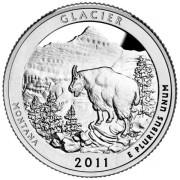 """25 центов 2011 год.  7-й Национальный парк """" Глейшер ( Монтана) """""""