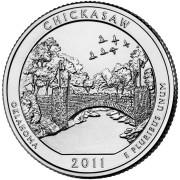 """25 центов 2011 год.  10-й Национальный парк """"Чикасо (Оклахома) """""""