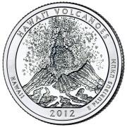 """25 центов 2012 год.  14-й Национальный парк """" Гавайские вулканы (Гавайи)"""""""