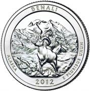 """25 центов 2012 год.  15-й Национальный парк """"  Денали (Аляска)"""""""