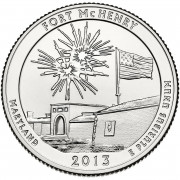 """25 центов 2013 год.  19-й Национальный парк """" Форт Мак-Генри"""""""