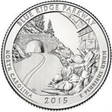 """25 центов 2015 год.  28-й Национальный парк """"Автомагистраль Блу-Ридж (Северная Каролина)"""""""