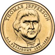 1 доллар 2007 год  3-й президент Томас Джеферсон