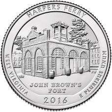25 центов 2016 год .33-й Национальный парк Харпес Ферри (Западная Виргиния)