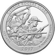 25 центов 2017 год. 40-й    Исторический парк имени Дж. Р. Кларка (George Rogers Clark)