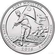 25 центов 2016 год 35-й Национальный парк Форт Молтри. Fort Moultrie
