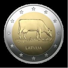 2 евро 2016 г  Корова (Латвия)