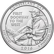 25 центов 2016 год.  32-й Национальный парк Камберленд-Гэп (Кентукки)