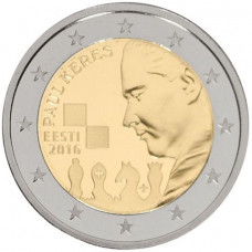 2 евро 2016 г  100 лет со дня рождения  шахматиста Пауля Кереса (Эстония)