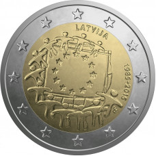 2 евро 2015 г   30 лет Европейскому Флагу (Латвия)