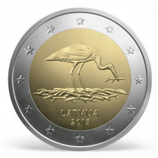 2 евро 2015 г  Чёрный аист (Латвия)