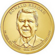 1 доллар 2016 год  40-й президент Рональд Рейган