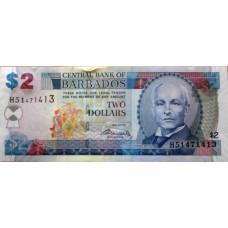 2  доллара 2007г  Барбадос