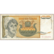 100000 динар 1993 год .  Югославия (состояние из оборота FV)