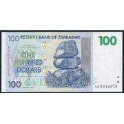 100 долларов 2007 год . Зимбабве