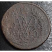 2 копейки 1757 год . Номинал сверху