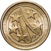 1 доллар 2021 год   Сакагавея -  Американские индейцы в армии США