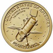 """1 доллар 2020 год . Американские инновации - Космический телескоп """"Хаббл"""" (Мэриленд)"""""""