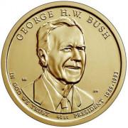 1 доллар 2020 год  41-й президент Джордж Буш-старший