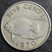 5 центов  1970 год . Бермудские острова