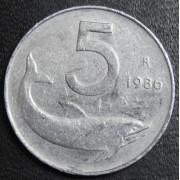 5 лир 1986 год . Италия