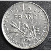 1/2 франка 1995 год . Франция