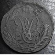 2 копейки 1757 год  (перечекан)