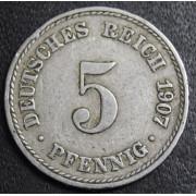 5 пфеннигов 1907  год (А).  Германия