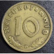 10 рейхспфеннигов 1939 год (D). Германия