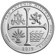 25 центов 2019 год. 49-й парк. Исторический парк миссии Сан-Антонио