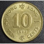 10 центов  1992 год Гонконг