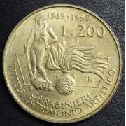 200 лир 1999 год  Италия. Карабинеры . Защита культурного наследия