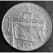 100 лир 1981 год  Италия . 100 лет основания Морской Академии в  Ливорно