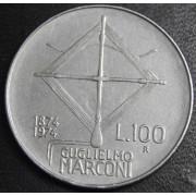 100 лир 1974 год  Италия. 100 лет со дня рождения Гульельмо Маркони