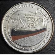 1/4 бальбоа   2016 год  Панама. 100 лет строительству Панамского канала- Первый транзит через Панамский канал