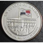 1/4 бальбоа   2016 год  Панама. 100 лет строительству Панамского канала-Возвращение  под контроль Панамы в 1999 году