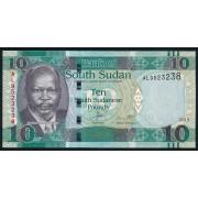 10 фунтов 2015 год.  Южный Судан