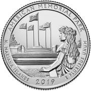 25 центов 2019 год. 47-й парк. Американский  мемориальный парк