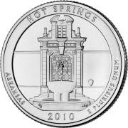 """25 центов 2010 год.  1-й Национальный парк """"Хот-Спрингс ( Арканзас) """""""
