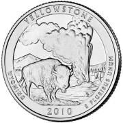 """25 центов 2010 год.  2-й Национальный парк """" Йеллоустонский парк (Вайоминг) """""""