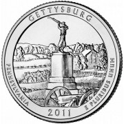 """25 центов 2011 год.  6-й Национальный парк """" Геттисберг ( Пенсильвания) """""""