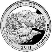 """25 центов 2011 год.  8-й Национальный парк """" Олимпик (Вашингтон) """""""