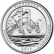 """25 центов 2011 год.  9-й Национальный парк """"Виксбург (Миссисипи) """""""