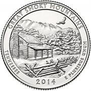 """25 центов 2014 год.  21-й Национальный парк """" Грейт-Смоки-Маунтинс (Теннесси)"""""""