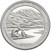 """25 центов 2014 год.  24-й Национальный парк """" Грейт-Санд-Дьюнс"""""""
