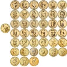 """Набор монет США серия  """" Президенты"""" (39 монет в альбоме)"""