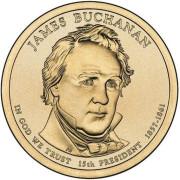 1 доллар 2010 год  15-й президент Джеймс Бьюкенен