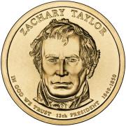 1 доллар 2009 год  12-й президент Закари Тейлор